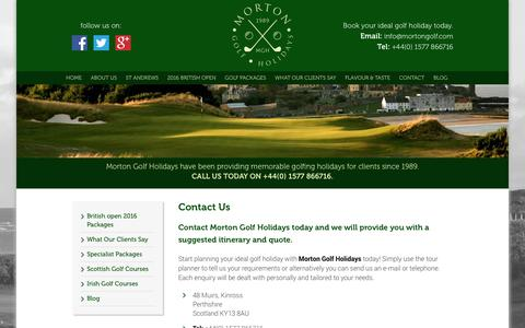 Screenshot of Contact Page mortongolf.com - Contact Morton Golf Holidays in Scotland - captured Feb. 24, 2016