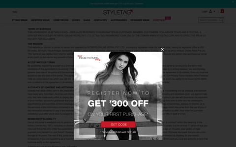 Screenshot of Terms Page styletag.com - Online Shopping Discounts On Designer Dresses For Women   Buy Handbags, Footwear, Accessories & More - Styletag - captured June 20, 2017
