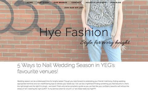 Screenshot of Blog hyefashion.ca - Our Blog — Hye Fashion - captured July 19, 2016