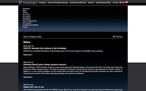 Screenshot of Press Page visotec.com - News - captured Oct. 7, 2014