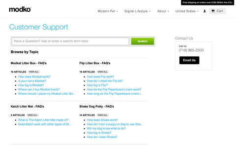 Screenshot of Privacy Page Support Page modko.com - Customer Support                           | Modko U.S. - captured Oct. 26, 2014