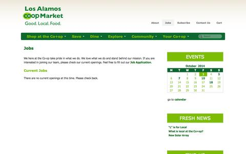 Screenshot of Jobs Page losalamos.coop - Los Alamos Cooperative Market | Jobs - captured Oct. 3, 2014
