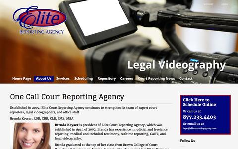 Screenshot of About Page elitereportingagency.com - One Call Court Reporting Agency - Elite Court Reporting Agency - captured Jan. 27, 2016