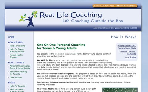 Screenshot of Case Studies Page reallifecoaching.ca - Real Life Coaching - Empowering Teens and Young Adults to Succeed. - How It Works - captured Oct. 26, 2014