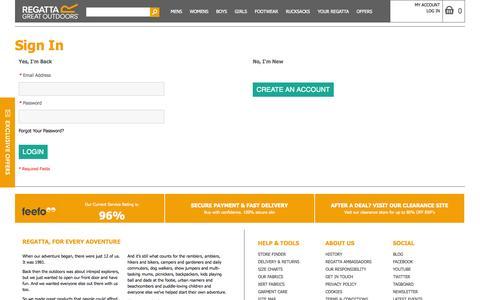 Screenshot of Login Page regatta.com - Customer Login - captured Sept. 19, 2014