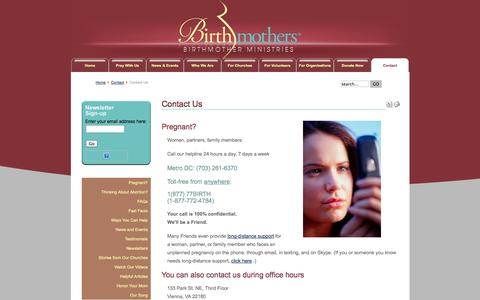 Screenshot of Contact Page birthmotherministries.org - Contact Us | Contact Us - captured Nov. 3, 2014