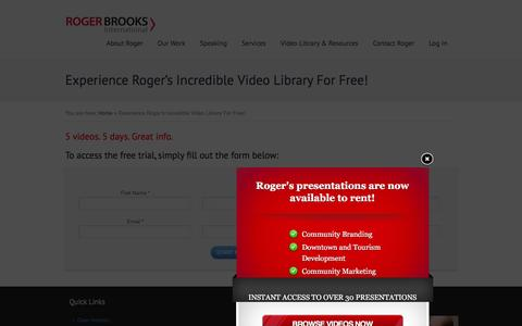 Screenshot of Trial Page rogerbrooksinternational.com - Experience Roger's Incredible Video Library For Free! - Roger Brooks International - captured Jan. 10, 2016