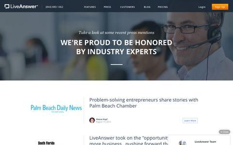 Screenshot of Press Page liveanswer.com - LiveAnswer - Press - captured Sept. 9, 2016