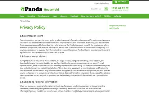 Screenshot of Privacy Page panda.ie - Privacy Policy - captured Jan. 25, 2016