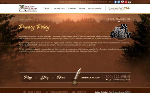 Screenshot of Privacy Page jacksoncasino.com - Privacy Policy - captured Sept. 19, 2014