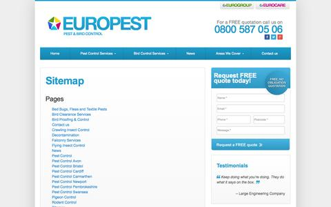 Screenshot of Site Map Page europest.co.uk - Sitemap   Europest - captured Oct. 3, 2014