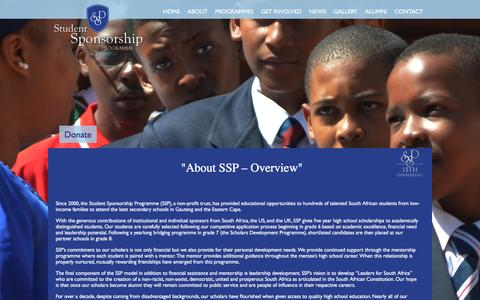 Screenshot of About Page ssp.org.za - Student Sponsorship Programme - captured Feb. 25, 2016