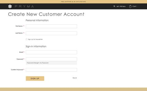 Screenshot of Signup Page sonusfaber.com - Create New Customer Account - captured July 8, 2018