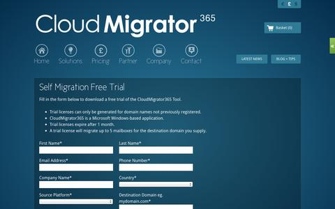 Screenshot of Trial Page cloudmigrator365.com - Self Migration Free Trial - CloudMigrator365 - captured Sept. 30, 2014