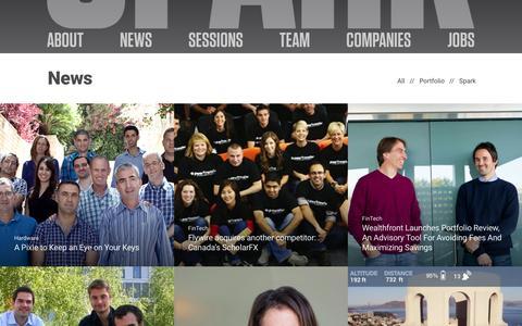 Screenshot of Press Page sparkcapital.com - News | Spark Capital - captured Jan. 26, 2016