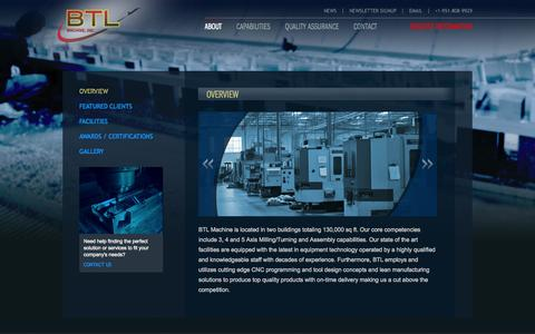 Screenshot of About Page btlmachine.com - CNC Machining, Lean Manufacturing, 3 Axis, 4 Axis, 5 Axis, | BTL Machine - captured Sept. 30, 2014