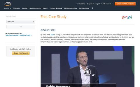 Screenshot of Case Studies Page amazon.com - ENEL Case Study - Amazon Web Services (AWS) - captured May 8, 2019
