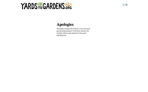 Screenshot of Home Page y2g.org - Yards to Gardens | Ushering in the death of the Lawn - captured Oct. 3, 2014