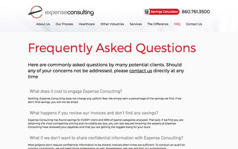 Screenshot of FAQ Page expenseconsulting.com - FAQ | Overhead Costs Reduction | Expense Consulting - captured Sept. 1, 2017