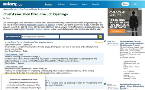 Screenshot of Jobs Page salary.com - Chief Association Executive Job Openings | Salary.com - captured Oct. 26, 2018