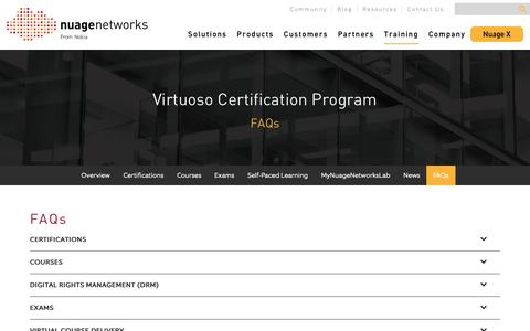 Screenshot of FAQ Page nuagenetworks.net - FAQs - Nuage Networks - captured March 27, 2019