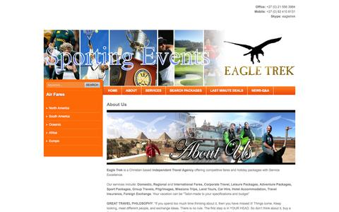 Screenshot of About Page eagle-trek.com - About Us - Eagle Trek - South Africa's flight, holiday centre and independant travel agency - captured Sept. 29, 2014
