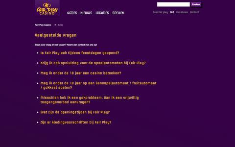 Screenshot of FAQ Page fairplaycasino.nl - Veelgestelde vragen - Fair Play Casino - captured Oct. 5, 2014