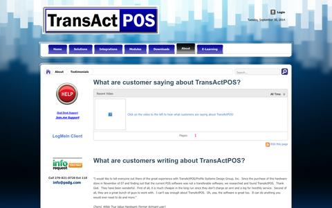 Screenshot of Testimonials Page transactpos.com - Testimonials - captured Oct. 1, 2014