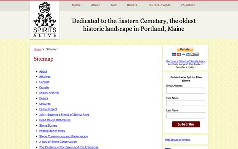 Screenshot of Site Map Page spiritsalive.org - Sitemap - Spirits Alive at the Eastern Cemetery in Portland, Maine - captured Sept. 30, 2014