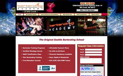 Screenshot of Home Page bartendingschoolwa.net - Seattle Bartending School - Bartending Academy Of Mill Creek - captured Oct. 5, 2014
