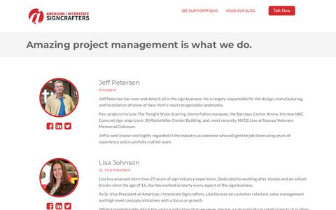 Screenshot of Team Page americansigncrafters.com - Senior Team Members - captured Sept. 19, 2018