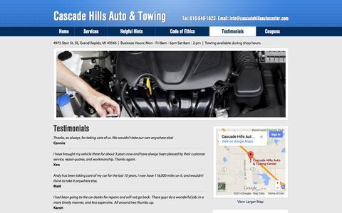 Screenshot of Testimonials Page cascadehillsautocenter.com - Cascade Hills Towing & Auto Repair - Testimonials - captured Oct. 2, 2014