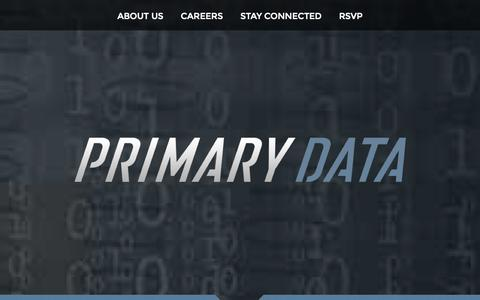 Screenshot of Home Page primarydata.com - Primary Data - captured Sept. 17, 2014