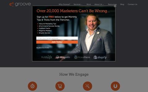 Screenshot of Home Page gotgroove.com - Magento Gold Partner   Hubspot Platinum Partner   Groove: Creative Marketing, Design & Development - captured Sept. 25, 2014