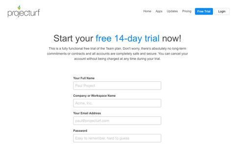 Screenshot of Signup Page Trial Page projecturf.com - Projecturf Free Trial & Sign Up - Pay monthly and cancel anytime - captured Oct. 22, 2014