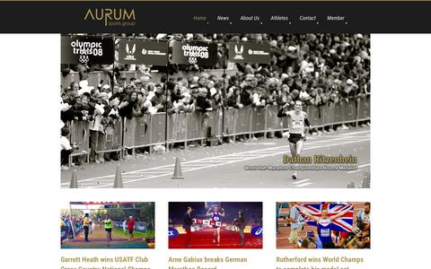 Screenshot of Home Page aurumsportsgroup.com - Home - Aurum Sports Group is an athlete-centered sports marketing and athlete management agency. - captured Dec. 27, 2015