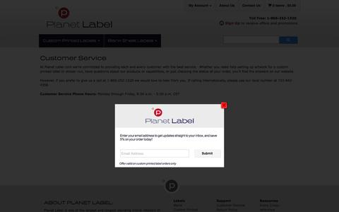 Screenshot of Support Page planetlabel.com - Customer Service & Support for Custom Printed Labels or Label Sheets at Planet Label - captured July 19, 2018