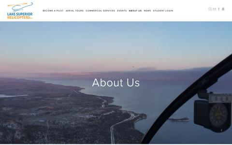 Screenshot of About Page lakesuperiorhelicopters.com - About Us — Lake Superior Helicopters - Helicopter School and Tours in Minnesota - captured Nov. 4, 2018