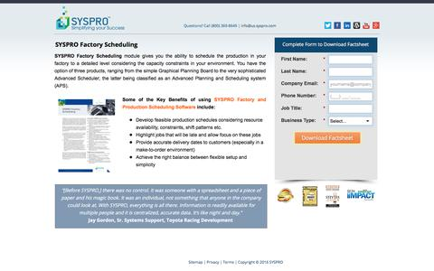 Screenshot of Landing Page syspro.com - SYSPRO Factory Scheduling - captured Oct. 23, 2017