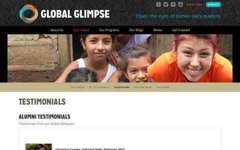 Screenshot of Testimonials Page globalglimpse.org - Testimonials – Global Glimpse - Student, Staff, and Alumni - captured July 19, 2018