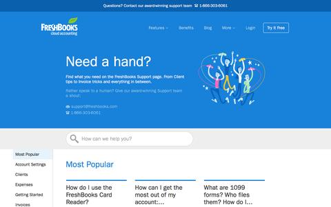 Screenshot of Support Page freshbooks.com - Support  | FreshBooks - captured March 10, 2016