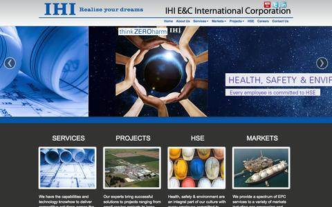 Screenshot of Home Page ihi-ec.com - IHI E&C   Industry Leader in Engineering and Construction Services - captured Oct. 3, 2014