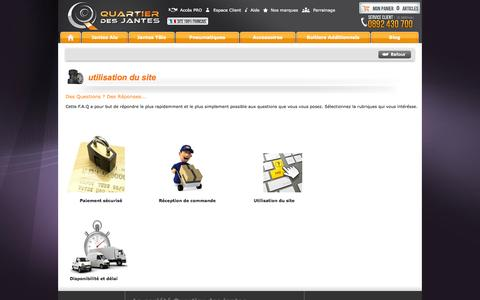 Screenshot of FAQ Page quartierdesjantes.com - F.A.Q du site Quartier des jantes - Toutes les réponses à vos questions - Quartier des jantes - captured Oct. 27, 2014
