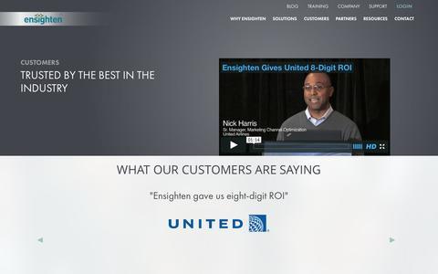 Screenshot of Testimonials Page ensighten.com - Ensighten Customers Stories from Top-Tier Corporations - Ensighten - captured July 3, 2015