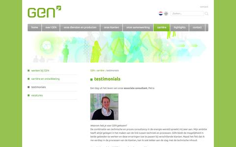 Screenshot of Testimonials Page gen.nl - testimonials | GEN | Power. Gas. Renewables. Covered for change. - captured Oct. 1, 2014
