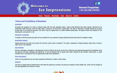 Screenshot of Terms Page iceimpressions.co.uk - Ts & Cs | Ice Impressions - captured Sept. 30, 2014