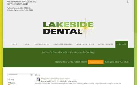 Screenshot of Blog lakesidedental.com - Dental Blog | dental implants in North Barrington, IL - captured Jan. 24, 2016