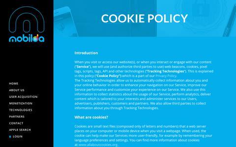 Screenshot of Terms Page mobilda.com - Cookie Policy – Mobilda - captured Nov. 15, 2018