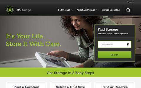 Screenshot of Home Page lifestorage.com - Self Storage Units at LifeStorage - Reserve & Rent Storage Space - captured July 13, 2016