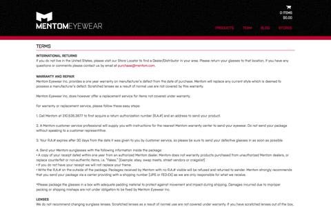 Screenshot of Terms Page mentom.com - Terms - mentom.com - captured Oct. 4, 2014